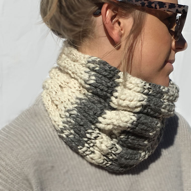 Chunky Knit Cable Rib Cowl Winter White Grey Black