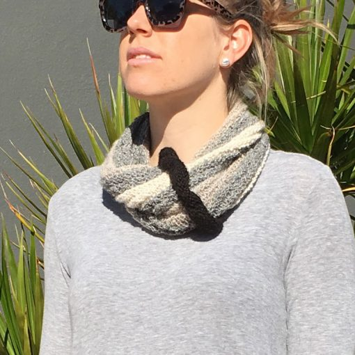 Striped Rib Cowl Grey Tones
