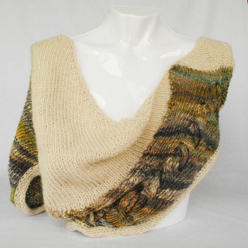 Alpaca Cowl Shawl Cream Green and Grey