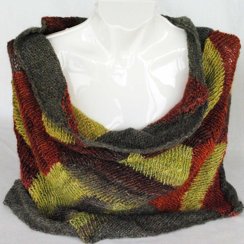 Cowl Shawl Grey Plum Lime Green