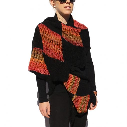 Black and Red Diamond Shawl Wrap