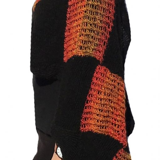 Shawl Wrap Black with Red Diamonds