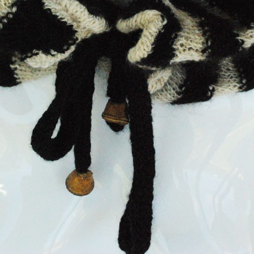 Striped Ruffle Scarf Black and White by ORA