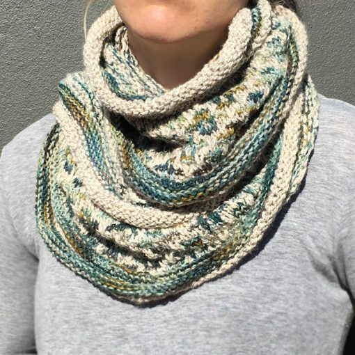 Mosaic Cowl Teal Sage Winter White