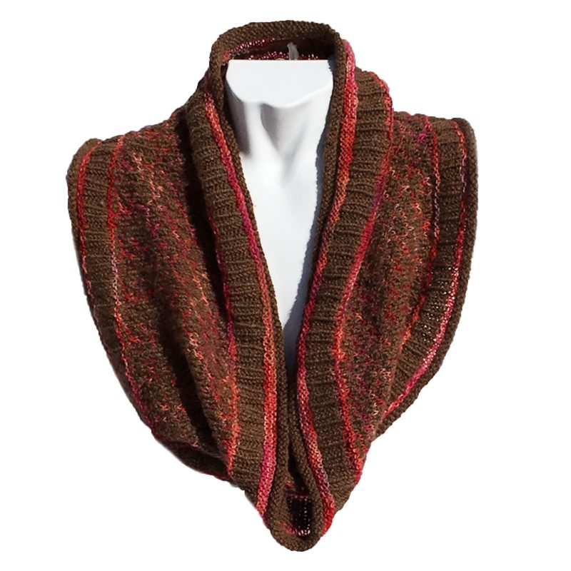 Mosaic Cowl Misty Chocolate Brown and Fuchsia