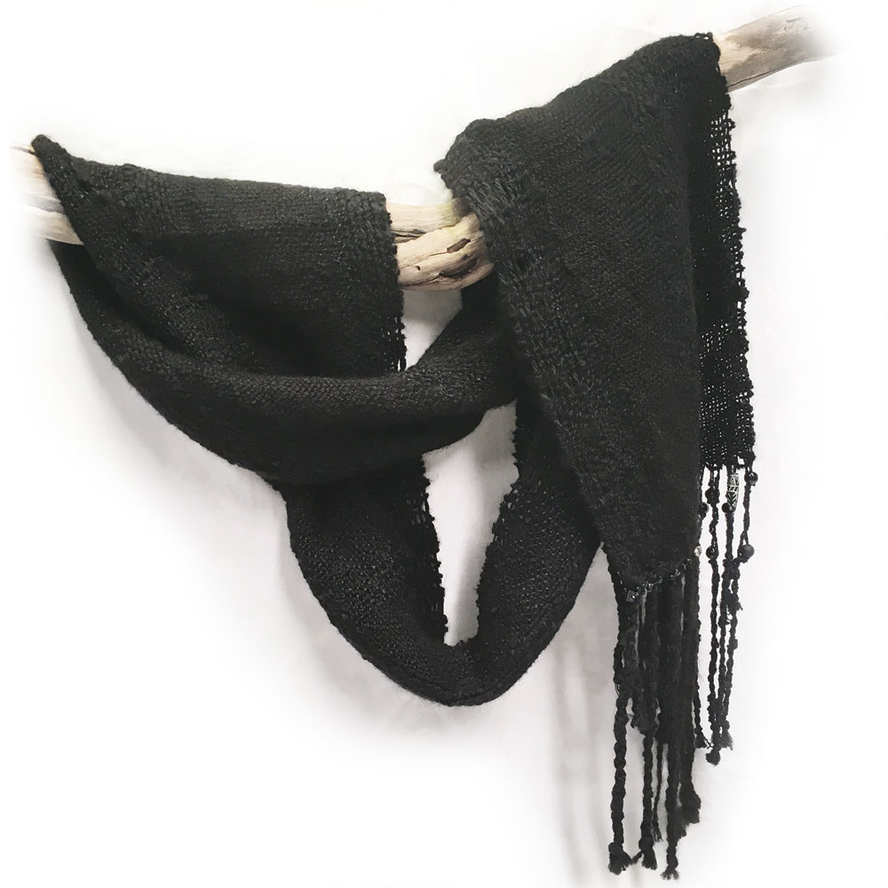 Long Black Textured Woven Scarf