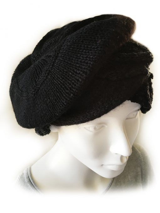 Alpaca Cloche Hat Black