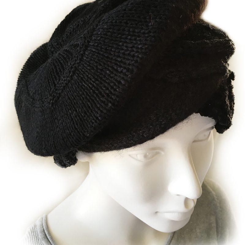 Alpaca Cloche Hat Black