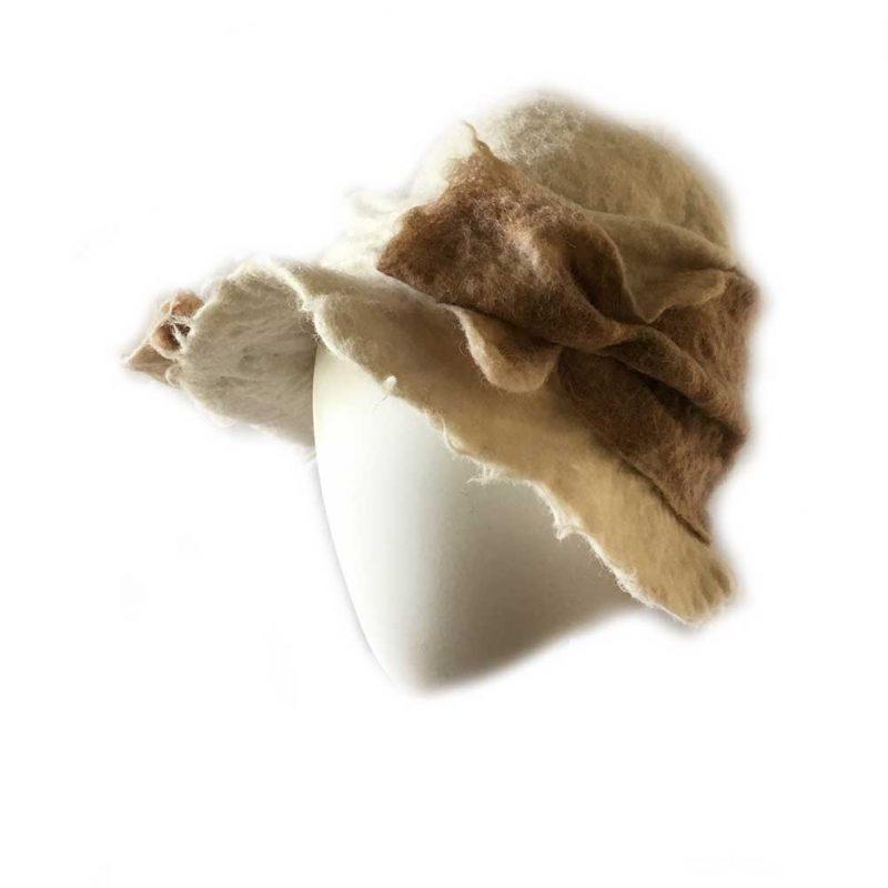 Alpaca Felt Hat Cream and Light Tan