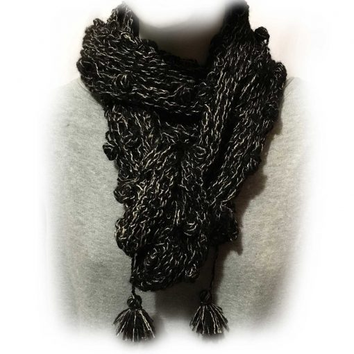 Alpaca and Silk Scarf Black and Grey